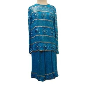 Vintage Avalon beaded evening skirt set MOB Sz S